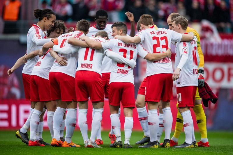 Dieses Bild zeigt den RB Leipzig zum Ende der Bundesliga-Saison 2018/19.