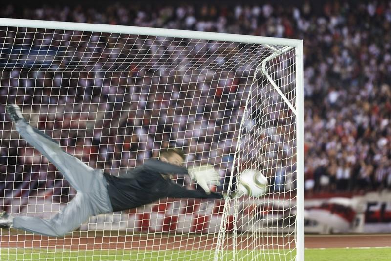 Es ist ein Tor im Stadion zu sehen, das den Erfolg des Spielers anhand seiner Tore misst