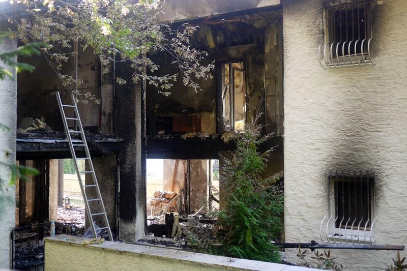 Die abgebrannte Villa von Breno in Grünwald