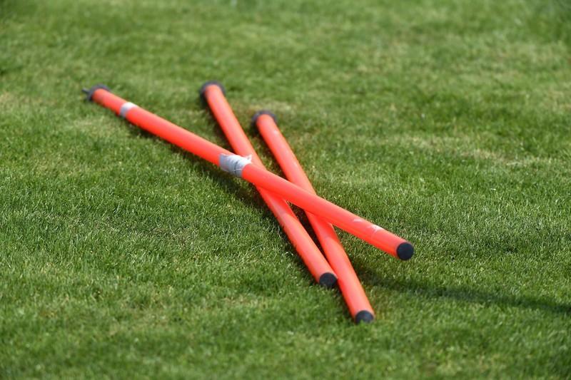 Slalomstangen sind ebenfalls ein gutes Equipment fürs FUßballtraining